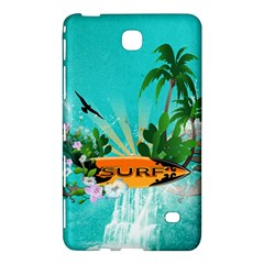 Surfboard With Palm And Flowers Samsung Galaxy Tab 4 (8 ) Hardshell Case  by FantasyWorld7