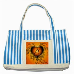 Funny Cute Giraffe With Your Child In A Heart Striped Blue Tote Bag  by FantasyWorld7
