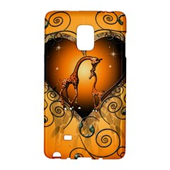 Funny Cute Giraffe With Your Child In A Heart Galaxy Note Edge by FantasyWorld7