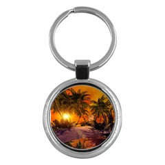 Wonderful Sunset In  A Fantasy World Key Chains (Round)  by FantasyWorld7