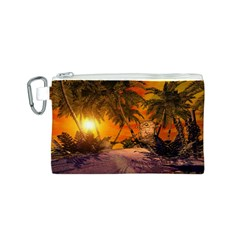 Wonderful Sunset In  A Fantasy World Canvas Cosmetic Bag (S) by FantasyWorld7