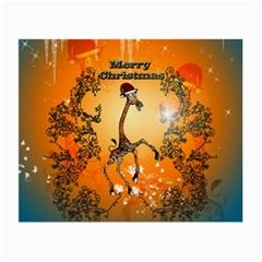 Funny, Cute Christmas Giraffe Small Glasses Cloth by FantasyWorld7