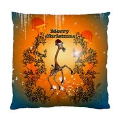 Funny, Cute Christmas Giraffe Standard Cushion Cases (two Sides)  by FantasyWorld7