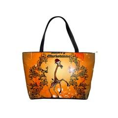 Funny, Cute Christmas Giraffe Shoulder Handbags by FantasyWorld7