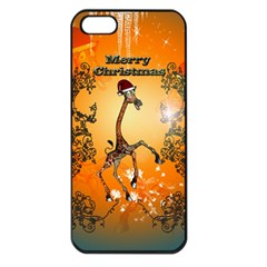 Funny, Cute Christmas Giraffe Apple Iphone 5 Seamless Case (black) by FantasyWorld7