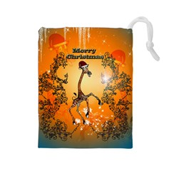 Funny, Cute Christmas Giraffe Drawstring Pouches (large)  by FantasyWorld7