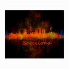 Barcelona City Dark Watercolor Skyline Small Glasses Cloth by hqphoto
