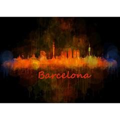Barcelona City Dark Watercolor Skyline Birthday Cake 3d Greeting Card (7x5)  by hqphoto