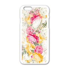 Colorful Floral Collage Apple Iphone 6/6s White Enamel Case by Dushan