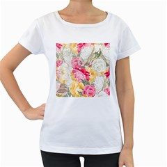 Colorful Floral Collage Women s Loose-Fit T-Shirt (White) by Dushan