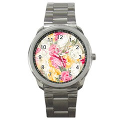 Colorful Floral Collage Sport Metal Watches by Dushan