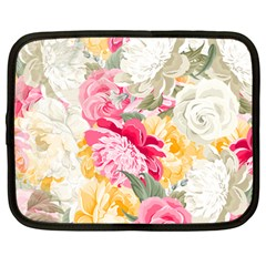 Colorful Floral Collage Netbook Case (Large)	 by Dushan