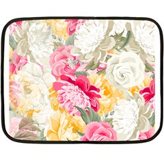 Colorful Floral Collage Double Sided Fleece Blanket (mini)  by Dushan