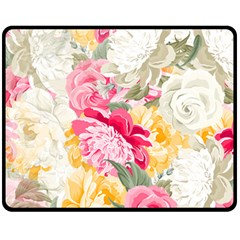 Colorful Floral Collage Fleece Blanket (medium)  by Dushan
