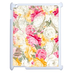 Colorful Floral Collage Apple Ipad 2 Case (white) by Dushan
