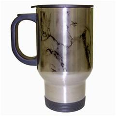 White Marble Stone Print Travel Mug (silver Gray) by Dushan