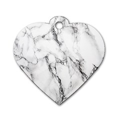 White Marble Stone Print Dog Tag Heart (two Sides) by Dushan