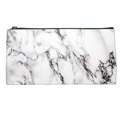 White Marble Stone Print Pencil Cases by Dushan