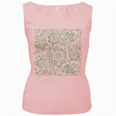 Mint Green And White Baroque Floral Pattern Women s Pink Tank Tops by Dushan