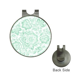 Mint Green And White Baroque Floral Pattern Hat Clips With Golf Markers by Dushan