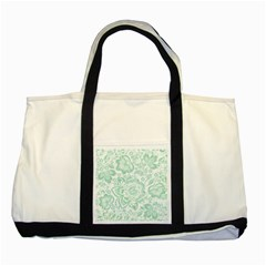 Mint Green And White Baroque Floral Pattern Two Tone Tote Bag  by Dushan