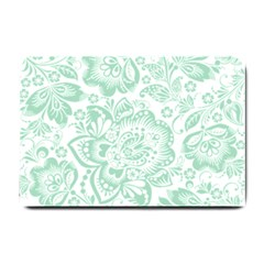 Mint Green And White Baroque Floral Pattern Small Doormat  by Dushan