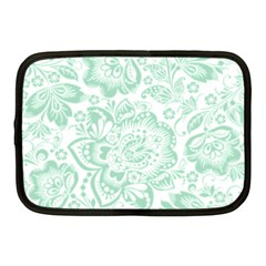 Mint Green And White Baroque Floral Pattern Netbook Case (medium)  by Dushan