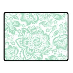 Mint Green And White Baroque Floral Pattern Fleece Blanket (small) by Dushan
