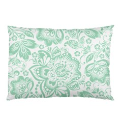Mint green And White Baroque Floral Pattern Pillow Cases (Two Sides)