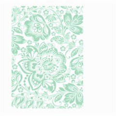 Mint Green And White Baroque Floral Pattern Large Garden Flag (two Sides) by Dushan