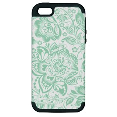 Mint Green And White Baroque Floral Pattern Apple Iphone 5 Hardshell Case (pc+silicone) by Dushan