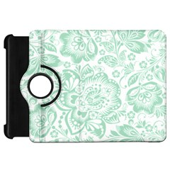 Mint green And White Baroque Floral Pattern Kindle Fire HD Flip 360 Case