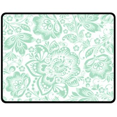 Mint Green And White Baroque Floral Pattern Double Sided Fleece Blanket (medium)  by Dushan
