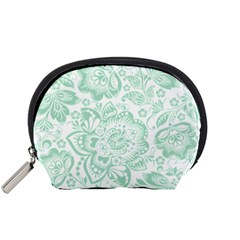 Mint green And White Baroque Floral Pattern Accessory Pouches (Small)  by Dushan