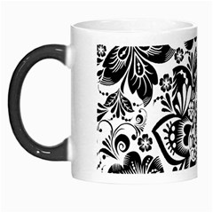 Black Floral Damasks Pattern Baroque Style Morph Mugs by Dushan