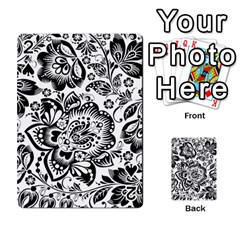 Black Floral Damasks Pattern Baroque Style Playing Cards 54 Designs  by Dushan