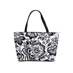 Black Floral Damasks Pattern Baroque Style Shoulder Handbags by Dushan