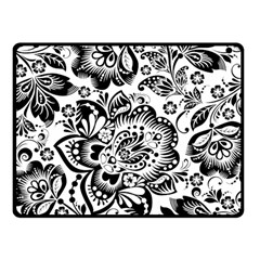 Black Floral Damasks Pattern Baroque Style Fleece Blanket (small) by Dushan