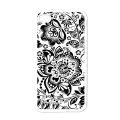 Black Floral Damasks Pattern Baroque Style Apple Iphone 4 Case (white) by Dushan