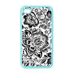 Black Floral Damasks Pattern Baroque Style Apple Iphone 4 Case (color) by Dushan