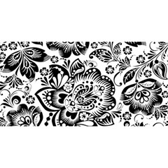 Black Floral Damasks Pattern Baroque Style You Are Invited 3d Greeting Card (8x4)  by Dushan