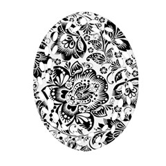 Black Floral Damasks Pattern Baroque Style Oval Filigree Ornament (2 Side)  by Dushan