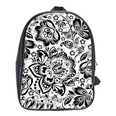 Black Floral Damasks Pattern Baroque Style School Bags (xl)  by Dushan