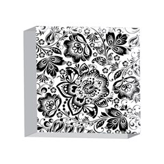Black Floral Damasks Pattern Baroque Style 4 x 4  Acrylic Photo Blocks by Dushan