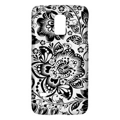Black Floral Damasks Pattern Baroque Style Galaxy S5 Mini by Dushan