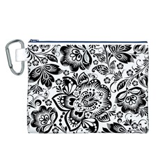 Black Floral Damasks Pattern Baroque Style Canvas Cosmetic Bag (l) by Dushan