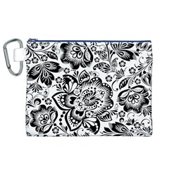 Black Floral Damasks Pattern Baroque Style Canvas Cosmetic Bag (xl)  by Dushan