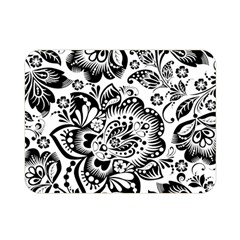 Black Floral Damasks Pattern Baroque Style Double Sided Flano Blanket (mini)  by Dushan