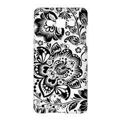 Black Floral Damasks Pattern Baroque Style Samsung Galaxy A5 Hardshell Case  by Dushan
