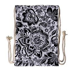 Black Floral Damasks Pattern Baroque Style Drawstring Bag (large) by Dushan